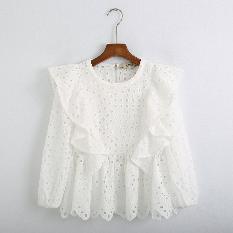 Women Blouse White Shirt Summer 2020 New Fashion Hollow Out Embroidery Lace Shirt Pullover Top