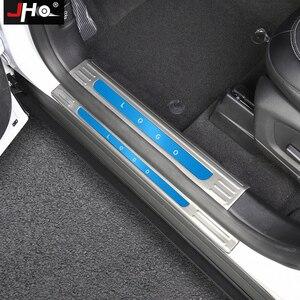 Image 3 - JHO placa de desgaste de umbral de puerta de acero inoxidable, Protector de Pedal de entrada, cubierta protectora para Ford Explorer 2020 2021, accesorios de coche