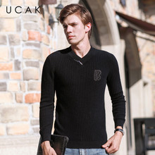 UCAK Brand Pure Merino Wool Sweaters Men 2020 New Casual Solid Zipper V-Neck Fashion Pull Homme Fashion Sweater Pullover U3171