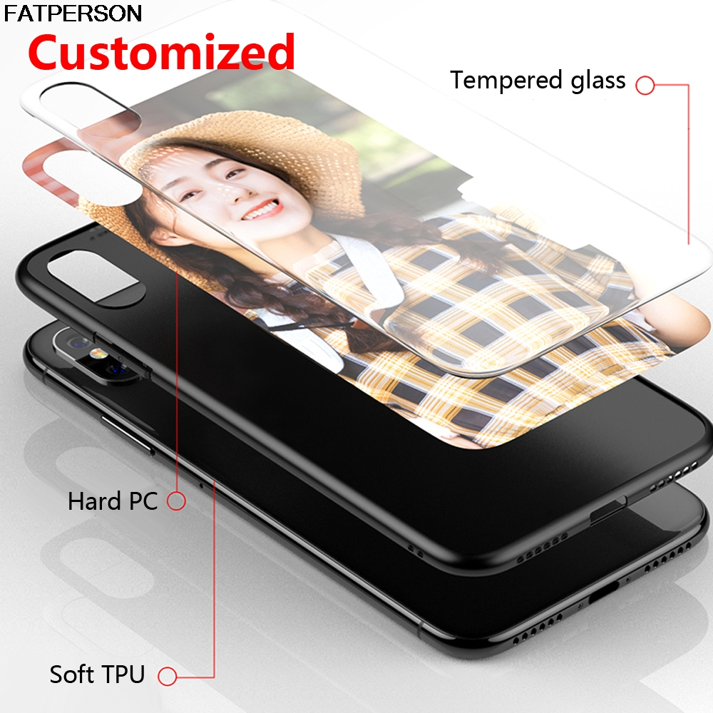 DIY glass Phone case For iphone 11 ProMax 8 X 10 7 Plus 6s 6 capa Custom Tempered Glass Phone Case For iPhone XS MAX XR 5 5S SE(China)