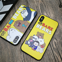 We Bare Bears case soft for iphone X XS MAX XR 8 7 6 6S plus matte silicone phone cover 3D relief Cute Cartoon oque fundas 8plus
