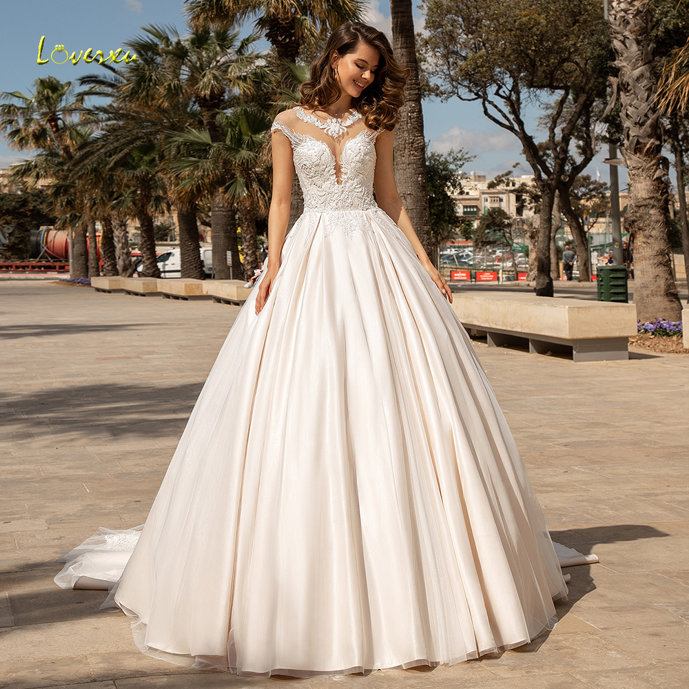 Loverxu Delicate O Neck Ball Gown Wedding Dresses Chic Applique Cap Sleeve Button Bride Dress Chapel Train Bridal Gown Plus Size-in Wedding Dresses from Weddings & Events