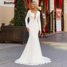 Booma Mermaid Wedding Dresses Lace with Long Sleeve V-neck illusion Boho Bridal Gown Princess Party Dresses Elegant Sweep Train
