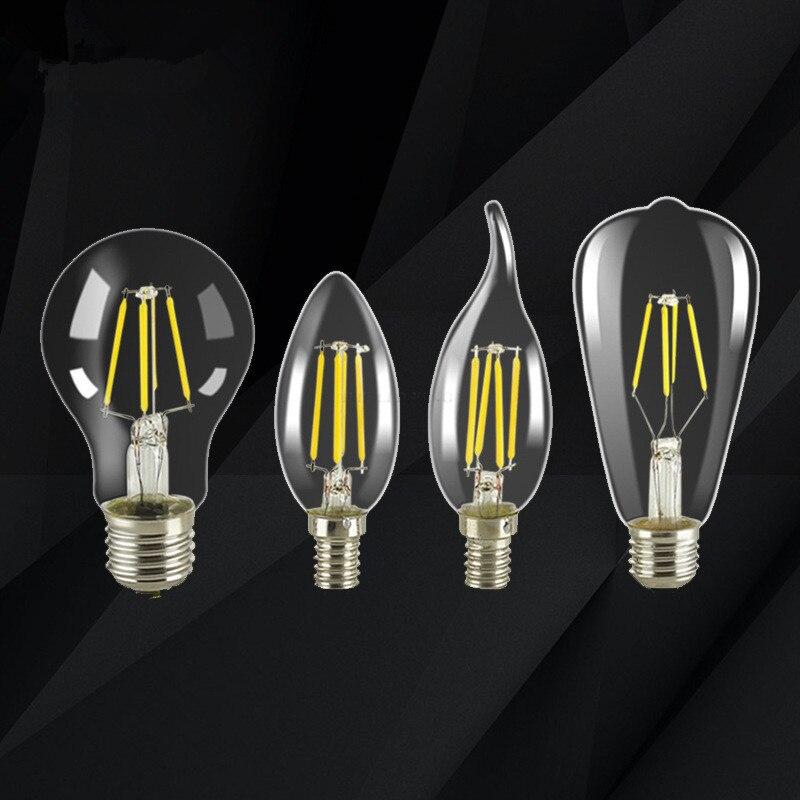 E27 E14 светодиодный светильник 2W 4W 6W 8W 230V 220V Светодиодная лампа накаливания античный ретро Edison 2700K мяч лампа светодионая лампа G45 C35 C35L