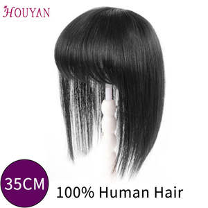 Hair-Products Fringe-Hair Human-Hair-Extension Remy Long Straight Natural HOUYAN Clip-In