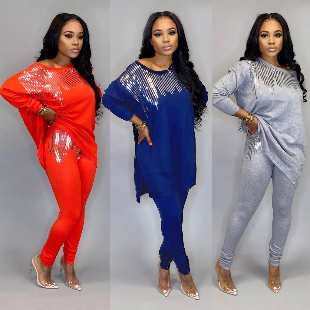 Sequined Two Piece Set Women Rave Festival Clothing Sexy Club Party Night Outfit Long Top And Pant Sweat Suit Matching Sets