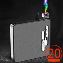 2 в 1 чехол для сигарет ветрозащитная двойная дуговая Зажигалка плазменная USB перезаряжаемая электрическая зажигалка может держать 20 сигаре...