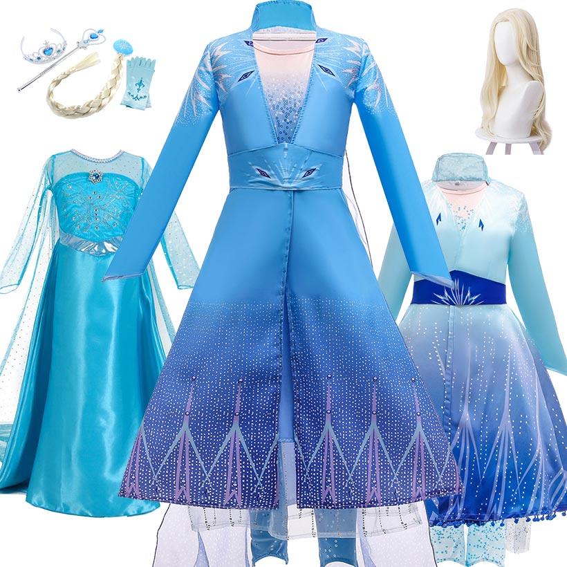 3-12T Fantasy Girls Princess Elsa Dress Snow Queen 2 Kids Halloween Party Carnival Cosplay Costume Children Elza Anna Congelados