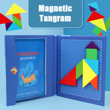 Magnetic Tangram wooden colorful early education building board children's brain development educational toys  jigsaw puzzle magnetic fishing game wooden toys jigsaw puzzle board education toy kid