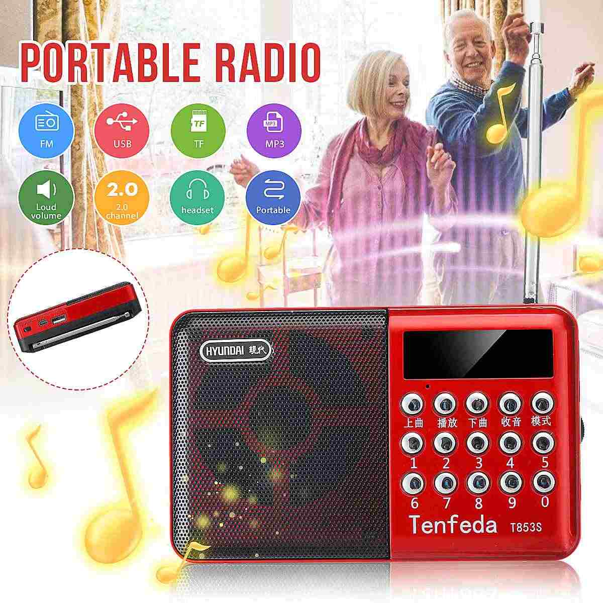 28 واط راديو محمول صغير يده الرقمية FM USB TF مشغل MP3 راديو استقبال DC5V مكبر صوت قابل للشحن Multifuntion أفضل هدية