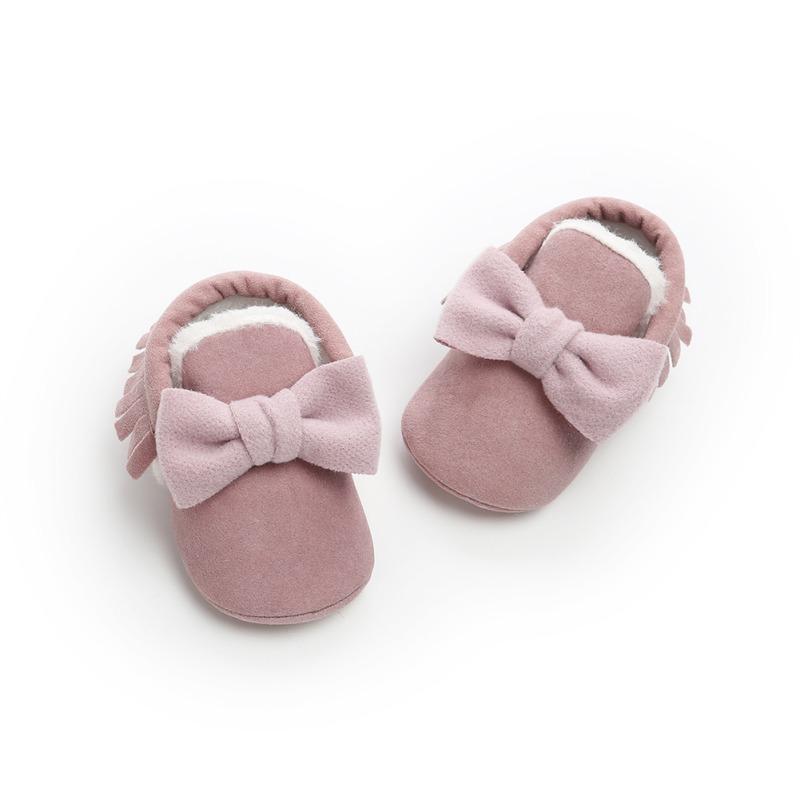 Lovely Cartoon Bow Super Warm Winter Boots With Fur Baby Butterfly-knot Boccasins Shoes Baby Girls Boys Bon-slip Toddler