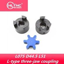 L-tipo três-maxila acoplamento aço L075 D44.5 L51 Furo 10/12/14/15/16/17/18/19/20/22/24/25mm para Servo motor