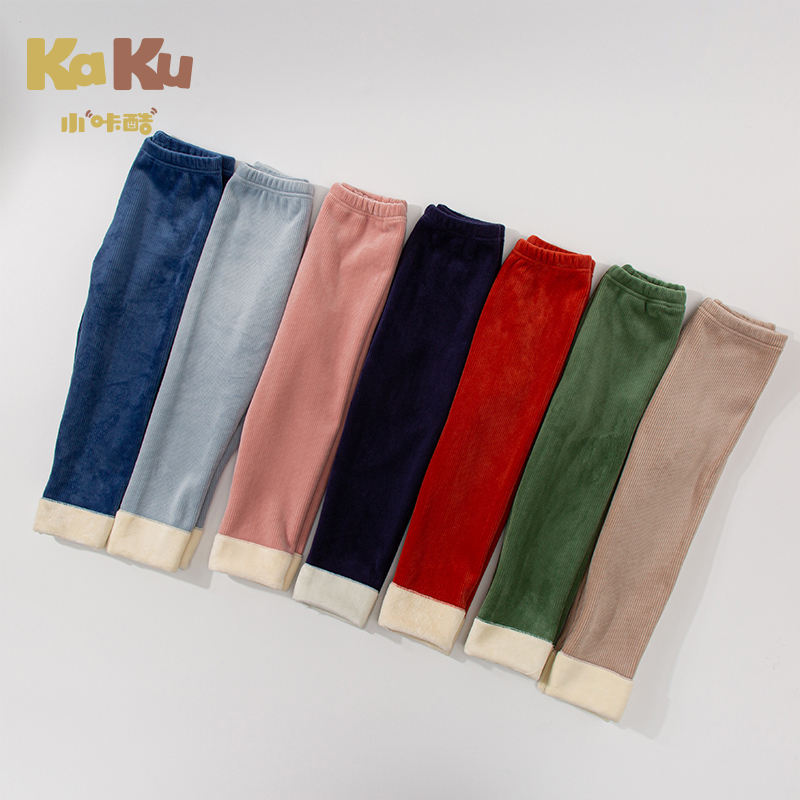 Girls Autumn And Winter Plus Velvet Single Leggings Boys Warm Casual Pants Foreign Style Children Wear Cotton Pants Baby Trouser