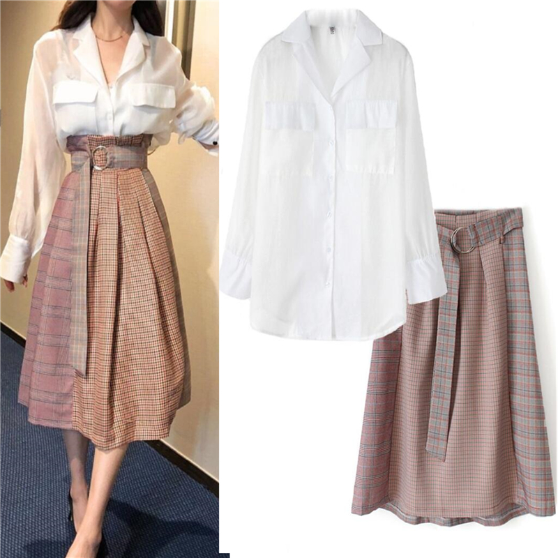 Sashes Graceful Autumn Vintage Elegant Women Two Piece Set Vogue Full Sleeve Shirt Tops And Plaid Skirt 2 Piece Set Women SL141