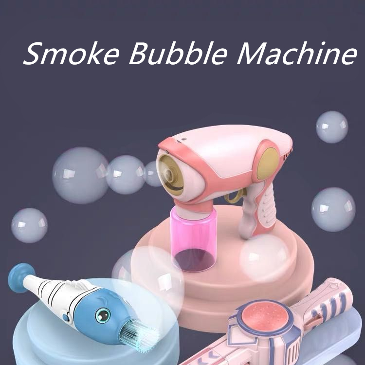 Auto Smoke Fog Spray Bubble Machine Gun Music Cute Automatic Soap Water Blower Outdoor Toys For Kids Girls Boys Gift Party Home
