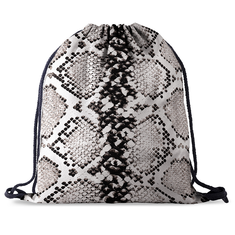 Bundle Pocket Rope  Bag Printing Snake Skin Pattern Drawstring Backpack Women Men Daily Casual Girl's Mochila Knapsack Feminina