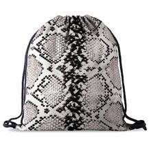 bundle pocket rope Bag Printing Snake skin pattern Drawstring Backpack Women men