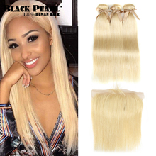 Black Pearl 613 Blonde Bundles With Frontal Straight Remy Hair Brazilian Weave 2/3