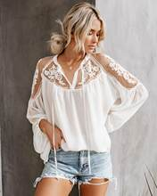 Sexy Fall Top Overhemd Plus Size Katoen Losse Lace-Up Transparante Bouse Causale Witte Shirt Koreaanse Stijl Voor Vakantie(China)