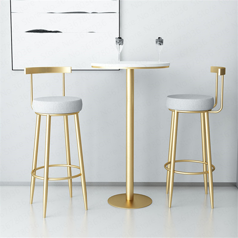 Golden Nordic Bar Stools Cashier Stools Back Bar Stools Home Simple High Chair Fashion Casual Creative Dining Chair 65/75cm