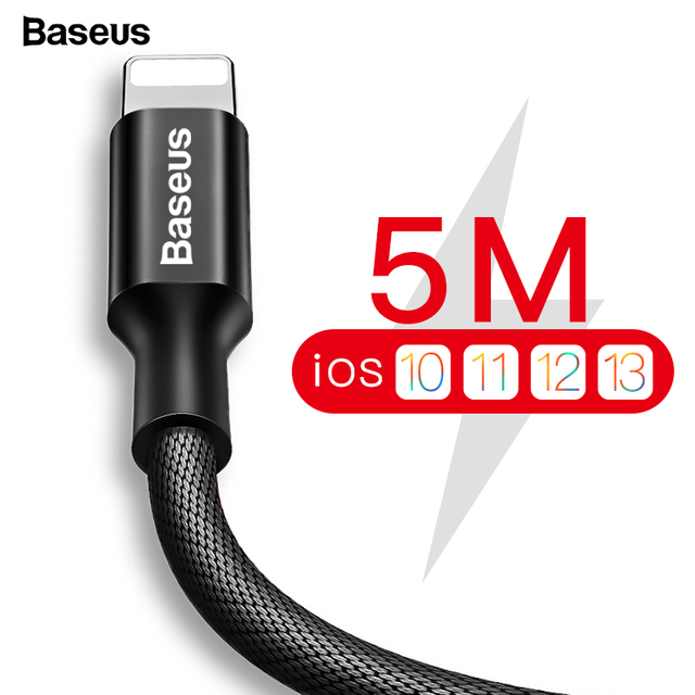 Câble USB Baseus pour iPhone 11 Pro Xs Max Xr X 8 7 6 6s 5s se iPad chargeur de charge rapide câble de données câble de téléphone portable 3m 5m