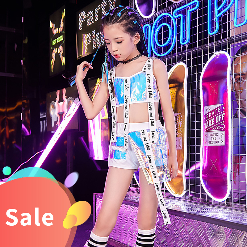 New Children Jazz Dance Costume Girls Hip Hop Suit Kids Modern/Street Dance Costume Children'S Day Catwalk Show Outfit DQL1775