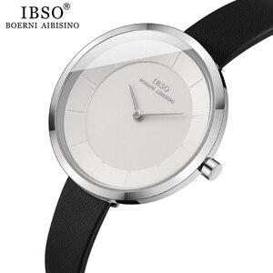 Image 2 - IBSO kobiety zegarek kwarcowy proste wodoodporny zegar godzin moda Montre Femme panie skóra Quartz zegarek wodoodporny