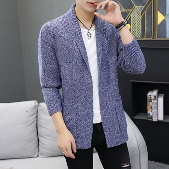 2019 New Fashion Brand Sweater For Mens Cardigan Long Slim Jumpers Knitred Woolen Autumn Korean Style Casual Men Clothes KK3078