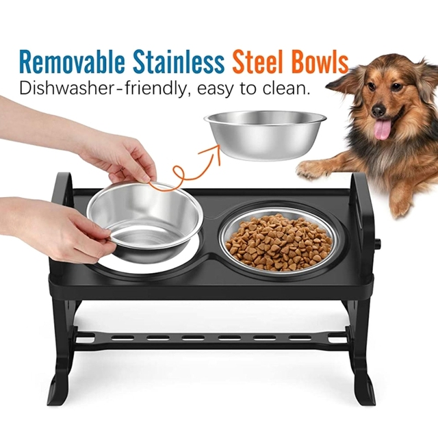 Anti-Slip Elevated Double Dog Bowl Adjustable Height Pet Feeding Dish Stainless Steel Foldable Food Water Feeder 4