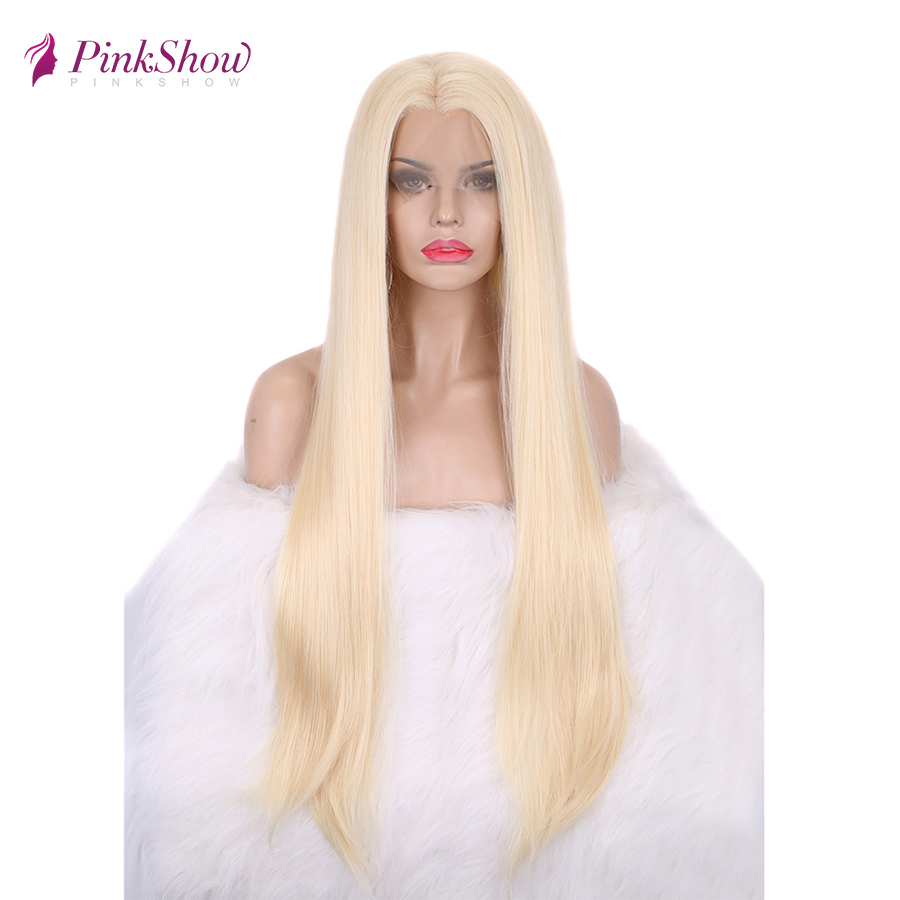 Pinkshow Straight Blonde Lace Front Wig Long Hair Synthetic Lace Front Wig Glueless Heat Resistant Fiber 30 Inches