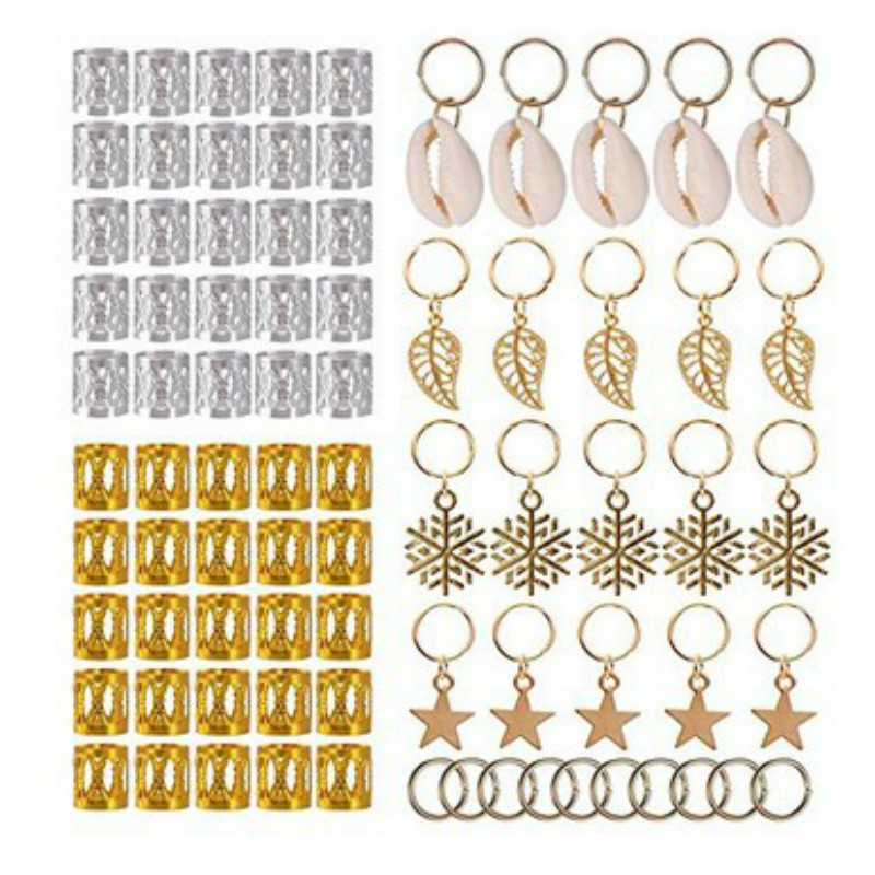 80pcs African Hair Braid Jewelry Polished Multiple Hard-wearing Easy To Use Cuffs Braid Rings Hair Pendants Dreadlock Decoration