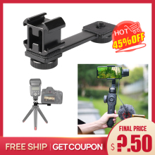 Extention Bar Grip 3 Cold Shoe Mounts L Bracket for Zhiyun Smooth Q 4/DJI OSMO 3/Vimble 2 Gimbal LED Light Microphone