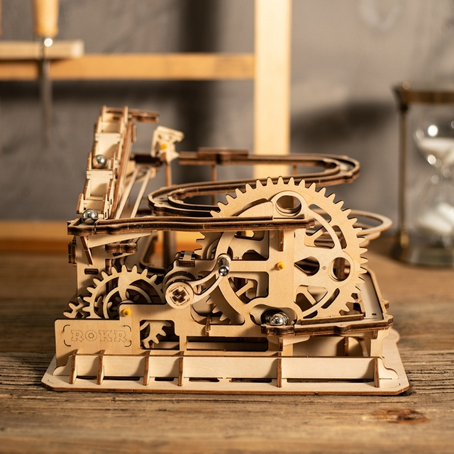 Robotime Rokr 4 Kinds Marble Run DIY Waterwheel Wooden Model Building Block Kits Assembly Toy Gift for Children Adult Dropship 14