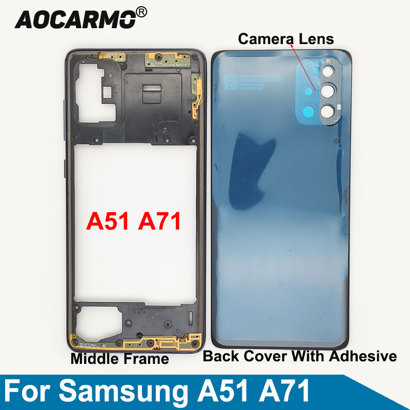 Aocarmo для Samsung Galaxy A51 A71 A715 A515 средняя рамка задняя крышка рамка объектив камеры клейкая наклейка Замена