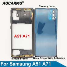 Aocarmo For Samsung Galaxy A51 A71 A715 A515 Middle Frame Back Cover Frame Camera Lens Adhesive Sticker Glue Replacement