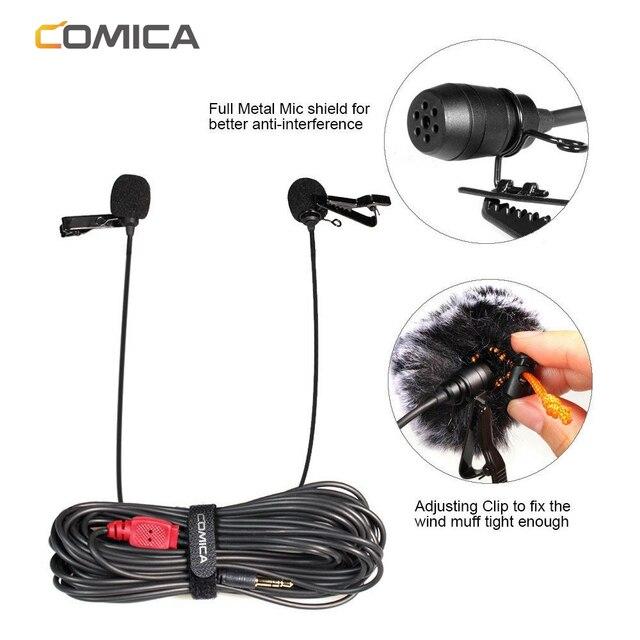 Micrófono condensador CoMica CVM D02 Lavalier 2,5 M 4,5 m 6,0 m micrófono Mic para Sony Canon Nikon Cámara teléfono gopro Studio