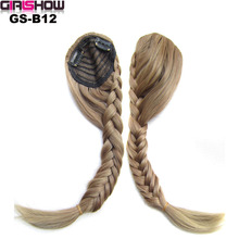 GIRLSHOW Plaited Gradient Bangs Hair Extension Piece Bride Oblique Fringe Bangs Tails Clip In Hair Braid Styling Brown Black