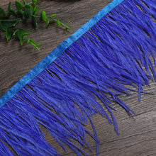 15-20CM 6M Ostrich Feather trim Cloth Belt for bag DIY feather ribbon fringe Wedding dress clothesdecoration