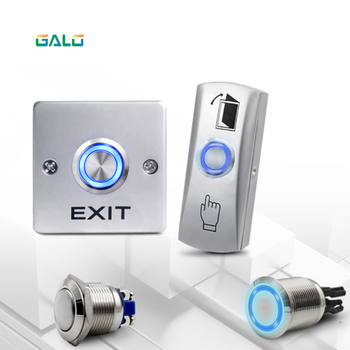 GALO Metal Annular Push Button Switch Ring LED light with NO COM Door Access Control System Exit Button Exit Switch eseye no com gate door exit button exit switch for door access control system door push exit door release button switch