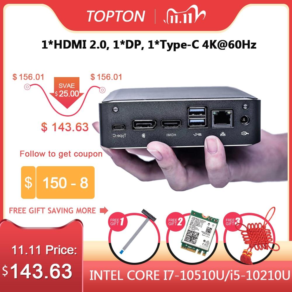 Topton популярный супер мини ПК 10TH i7 10510U i5 10210 2 * DDR4 NVME M.2 Карманный настольный компьютер Window10 Pro Type c 4K HDMI 2,0 DP|Мини ПК|   | АлиЭкспресс