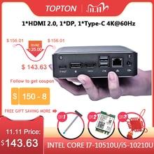 Topton – Super mini PC de bureau sous Windows 10 Pro, processeur i7 10510U/i5 10210 de 10e Gén, 2 x DDR4, NVME M.2, port USB Type C, 4K, HDMI 2.0, DP