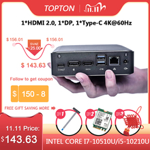 Topton popular super mini pc 10th i7 10510u i5 10210 2 * ddr4 nvme m.2 bolso desktop computador window10 pro tipo c 4k hdmi 2.0 dp