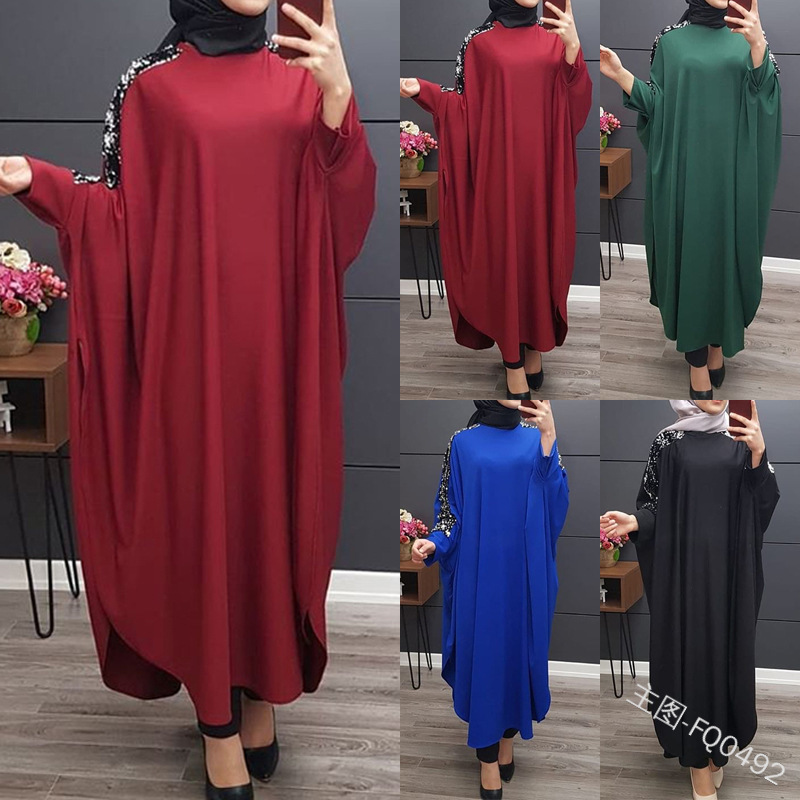 Muslim Sequins  Abaya Kimono Hijab Dress Bat Sleeve Turkish Arabic Dubai African Pakistan Caftan Marocain Kaftan Qatar Islamic