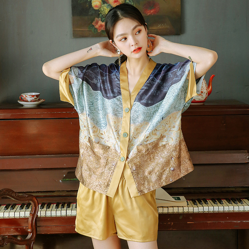 Female Summer Thin Silk-like Pajamas V-Neck Printing Pijama Loose Short-Sleeved Shorts Satin Sleepwear Home Clothes 2 Piece
