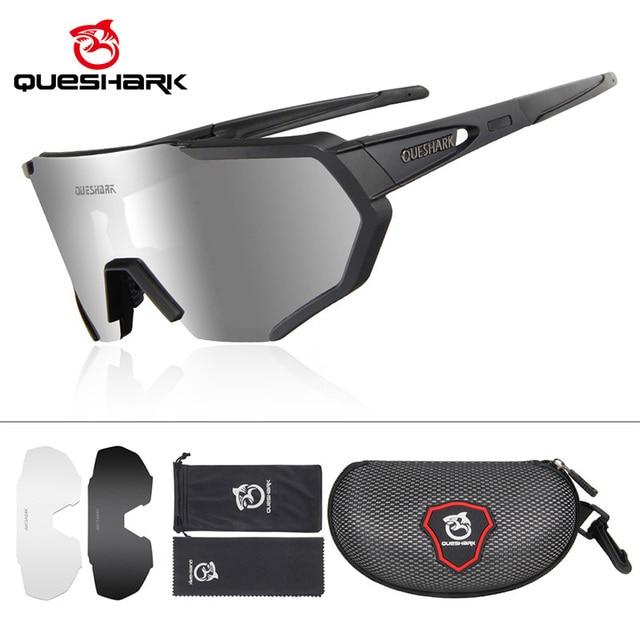 Queshark polarizado óculos de ciclismo das mulheres dos homens uv400 correndo esportes pesca óculos de sol mtb bicicleta com 3 lentes qe42 1