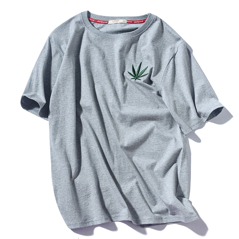 Summer New Style National Trends Chinese-style Hemp Fimble Leaf Embroidered All-cotton T-shirt Japanese-style Harajuku-Style Sho