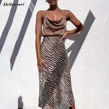 High Waist Leopard zebra Long Skirt Women Fashion Streetwear Summer Skirts Silk Satin Office Elegant Party Midi