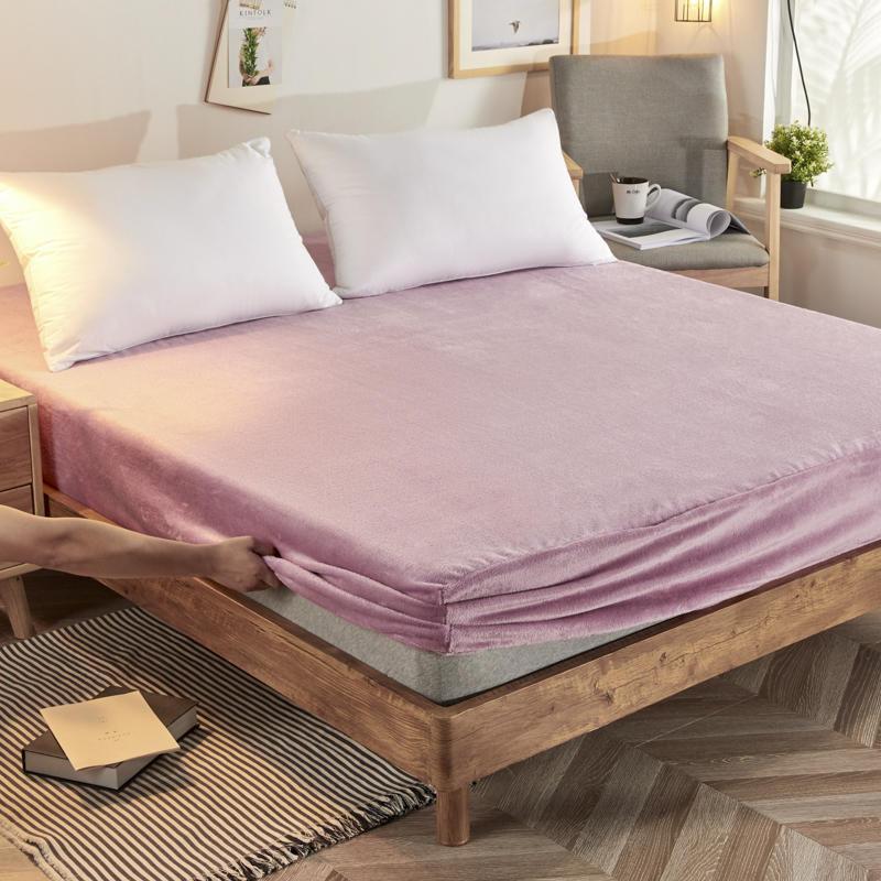 Bonenjoy Flannel Bed Sheet Velvet Bed Linen With Elastic Winter Use Warm Elastic Sheet Single Mattress Protecter Sheets