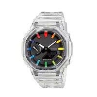 Reloj Digital LED para hombre, pulsera deportiva informal con pantalla Dual, correa de silicio transparente, todos los indicadores, 2021, novedad de 2100