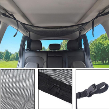 Car roof storage net pocket top car interior bag trunk cargo net car container universal multifunctional accessory image